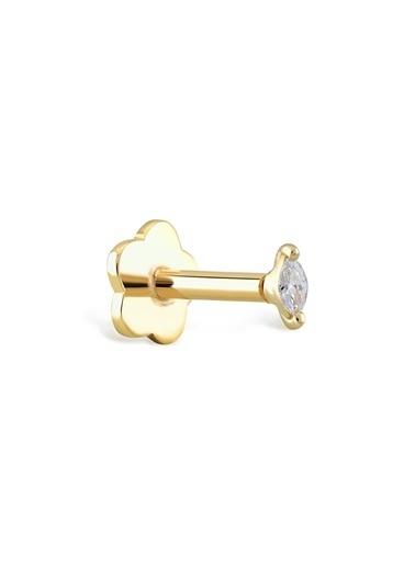 Piano Jewellery Tek Markiz Pırlanta Tragus Piercing 14 Ayar Altın